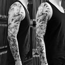 Grey Flowers Japanese Sleeve Tattoo For Guys