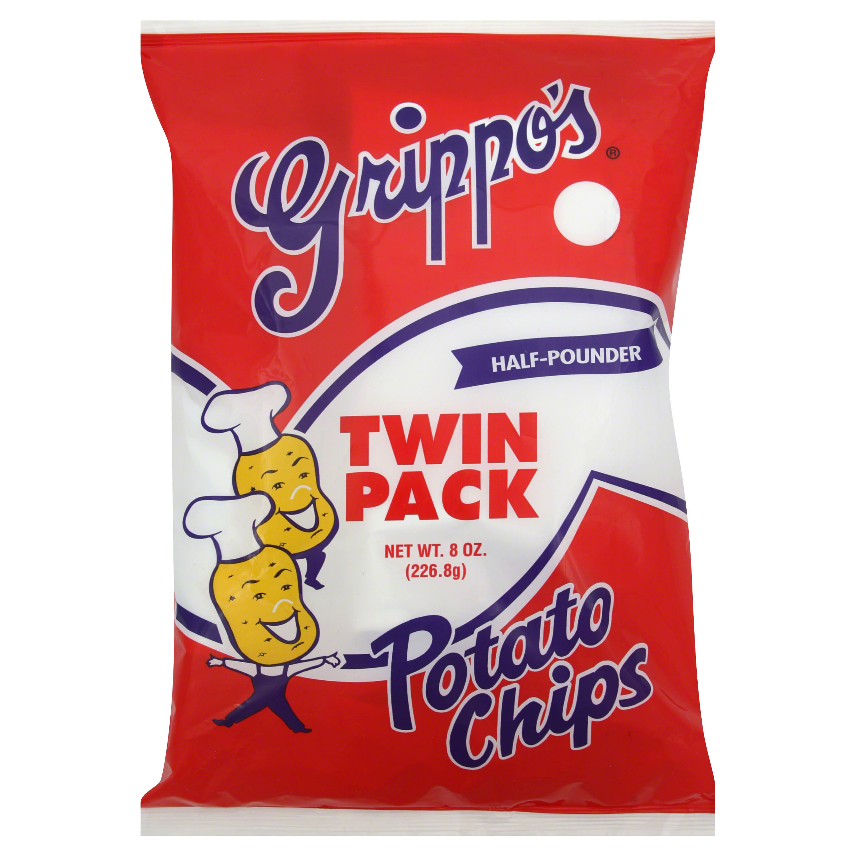 Grippos Potato Chips, Half Pounder, Twin Pack - 8 oz