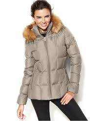 calvin klein faux fur trim hooded puffer down coat in natural lyst