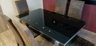 esszimmer essgruppe tisch glastisch ausziehbar mit 6 stühlen