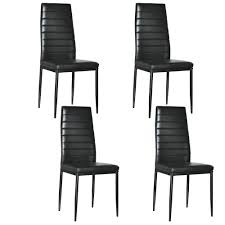 100 Black Leather Side Dining Chairs 4Pcs Chair PU High Back Kitchen Elegant Home