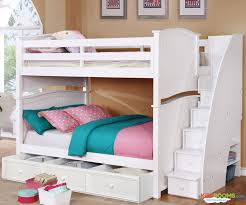 Chelsea Full over Full Bunk Bed with Stairs in White