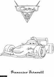 Cars 2 Francesco Bernoulli Printable Coloring Page