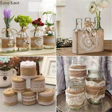 2Meter Pcs Width 5cm Jute Burlap Rolls Hessian Ribbon With Lace Vintage Rustic Wedding Decoration