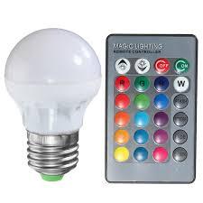 RGB LED Light Bulb E27 B22 3W 16 Colors Changing Magic Lamp