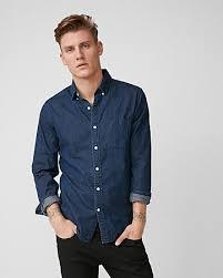 Express View Slim Soft Wash Dark Denim Shirt