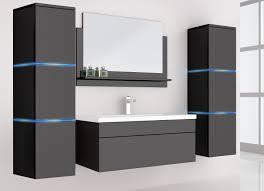 5 teiliges badmöbel set waschplatz inkl led beleuchtung hochglanz schwarz