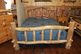 Interesting Rustic Bedroom Interior Design Ideas With Wooden Log Bed Frames Furniture Using Grey Linen