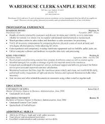 Clerical Resumes Examples Sample Resume Ware Lovely Warehouse Clerk Objectives Support