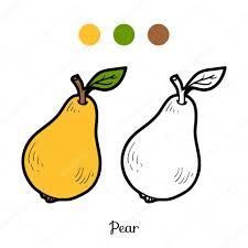 Coloring Book For Children Fruits And Vegetables Pear Vector By Ksenya Savva