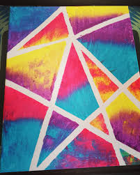 Canvas Painting Using Masking Tape