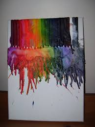 Melted Crayons On Canvas Art