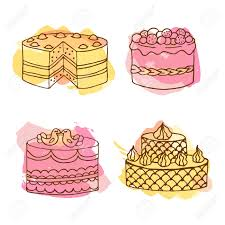 Vector cake illustration Set of 4 hand drawn cakes with colorful watercolor splashes Wedding