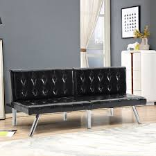 Giantex Split Back Futon Sofa Bed PU Convertible Couch Bed Modern