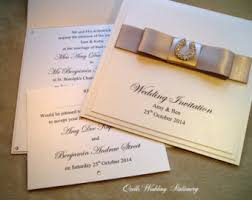 Diamante Horseshoe Wedding Invitation And RSVP Card Various Colour Options For Satin Ribbon