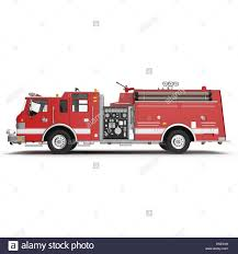 100 Big Red Fire Truck Isolated On White 3D Illustration Stock Photo