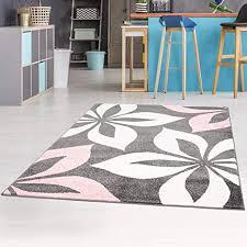 carpet city teppich mit blumen moda modern flachflor in rosa