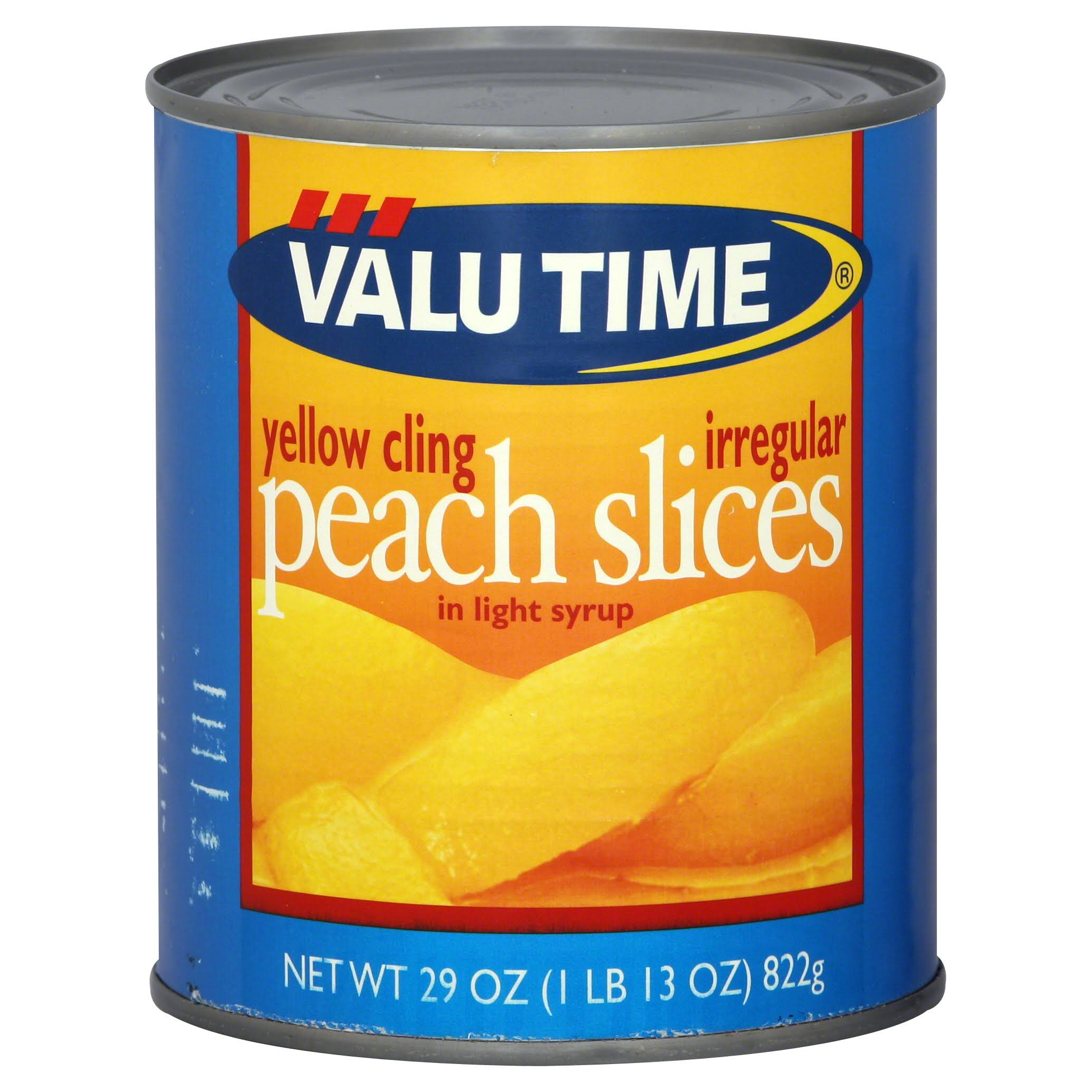 Valu Time Peach Slices, Yellow Cling, Irregular, in Light Syrup - 29 oz