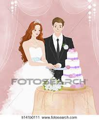 A couple cutting the wedding cake