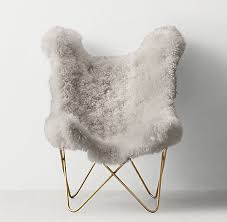 Tye Grey Mongolian Lamb Butterfly Chair