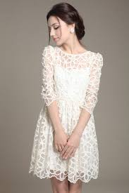 fashion trends off shoulder 3 4 sleeves knee length white lace