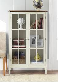Tall Display Cabinet Storage Furniture 2 Glass Doors Home Living Room Show Case