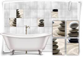 fliesenaufkleber sand steine wellness spa grau aufkleber