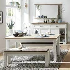details zu esszimmermöbel set weiß matt pinie 220 160cm esstisch sitzbank sideboard spiegel