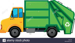 Rubbish Truck With Green Container Illustration Stock Vector Art ...
