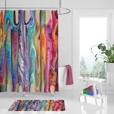boho hippie wirbel duschvorhang optional bad matte badezimmer regenbogen