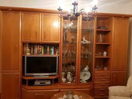 schrankwand echtholz kirsche mit vitrine wohnwand wohnzimmer