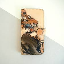 Leather Wallet iPhone And Galaxy Phone Case Tiger