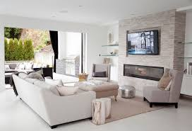 Vancouver Stone Electric Fireplace Living Room Contemporary With Indoor Outdoor Stainless Steel Grate Tv Above