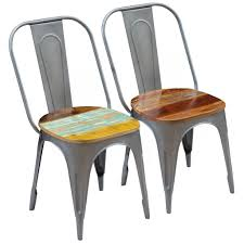 VidaXL Dining Chairs 2 Pcs Solid Reclaimed Wood 18.5