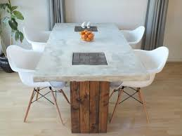 Custom Concrete And Wood Modern Rustic Dining Table 200000 Via Etsy