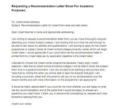 Re mendation Letter Email Request Academic Purposes Sample