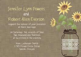 Rustic Sunflower Mason Jars Wedding Invitation EWI353