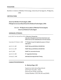 Med Tech Resume Medical Laboratory Technician Sample For Certified Technologist Philippines