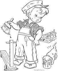 Old Fashioned Vintage Coloring Boy And Dog Painting