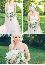 Blush Wedding Dress Cream And Bouquet Flower Crown Rustic Vintage