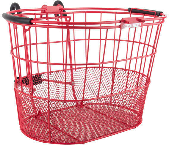 Bicycle Basket Sunlite Front Wire Mesh Oval Lift-Off - Red