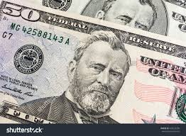 Ulysses S Grant Face On US Fifty Or 50 Dollars Bill Macro