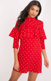 prettylittlething womens shelarina red polka dot frill shift dress
