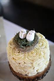Small Rustic Wedding Cake With Birds In Nest Topper