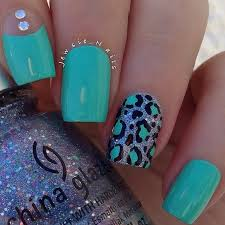 Turquoise Leopard Print Nails By Jewsie Nail Art