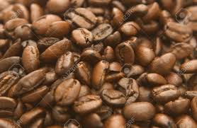 Close Up View Of Roasted And Imported Coffee Beans No Background Stock Photo