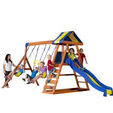 Patio Swing Sets Walmart by Backyard Discovery Dayton Cedar Wooden Swing Set Walmart Com