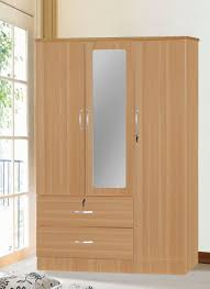 3 Door Wardrobe With 2 Drawers & Mirror Contemporary Armoires