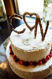 Rustic Monogram Twig Wedding Cake Topper