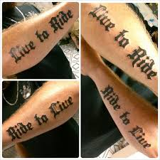 Biker Tattoos Live To Ride Tattoo Lettering Old English